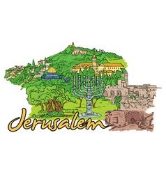 jerusalem doodles vector image vector image