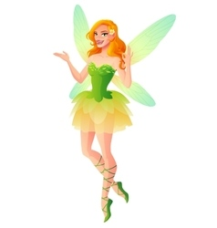 presenting fairy with wings in green dress vector image vector image