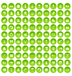 100 children icons set green circle vector