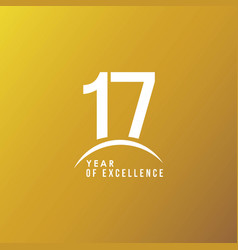 17 year excellence template design vector