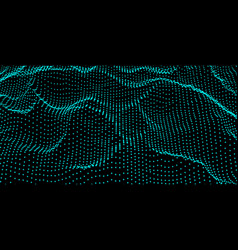 abstract digital wave grid consist of particles vector image