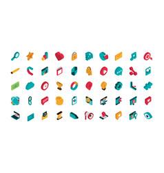 advertising commerce marketing icons set isometric vector image