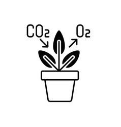 Air purifying plant black linear icon vector