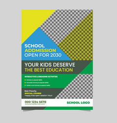 Back to school admission promotion flyer template vector