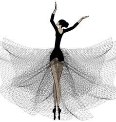 Ballet girl in black vector