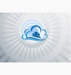Blue light background computer cloud vector