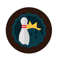 Bowling black ball and pin game hobsport block vector