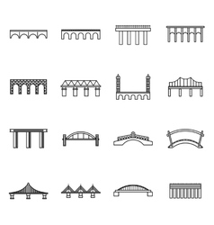 Bridge set icons thin line style vector