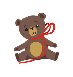 brown teddy bear with shiny eyes and red ribbon on vector image
