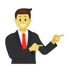 Businessman showing something beside him vector
