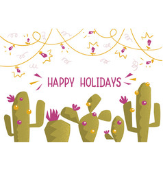 Cactus christmas card background vector