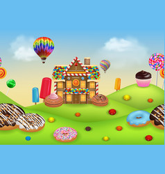 Candyland with gingerbread house vector