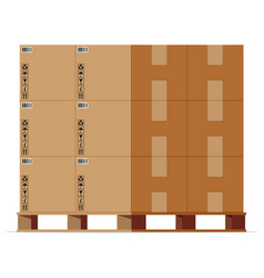 cardboard boxes pile on wooden pallet isolated vector image