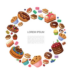 cartoon desserts round concept vector image