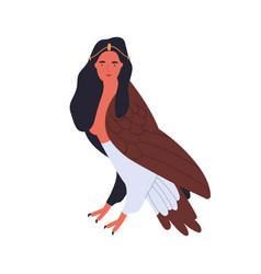 Cartoon harpy woman bird mythological animal vector
