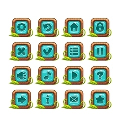 Cartoon square buttons menu set vector image