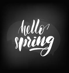 chalkboard blackboard lettering hello spring vector image