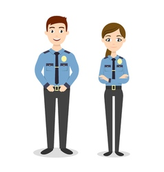Characters two young happy police officers man and vector