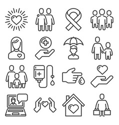 charity and volunteer icons set on white vector image