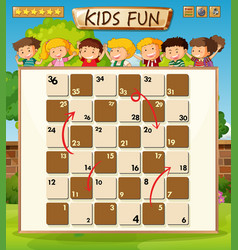 Children on board game template vector