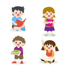 Children studying reading books collection vector