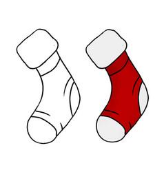Colored hand drawn christmas socks vector