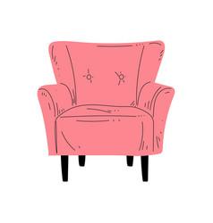 Comfortable pink armchair on wooden legs vector