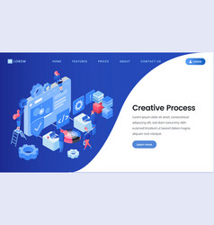 creative process landing page isometric template vector image