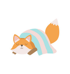 cute fox cub animal sleeping under blanket vector image