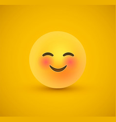 cute smile yellow emoticon face in 3d background vector image