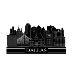 dallas cityscape line art design black and white vector image