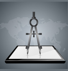 Dividers compas smartphone tablet gadget vector