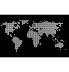 Dotted World Map White on Black Background vector image