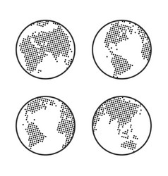 Earth globe logo dotted world map icon set vector