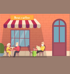 european street cafe elderly travellers drink vector image