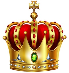 Golden crown with cross vector