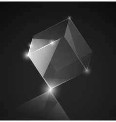 gray glass cube background vector image