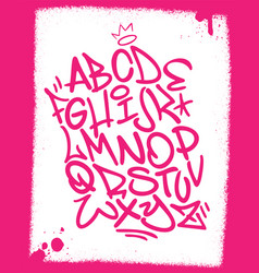 Handwritten graffiti font alphabet artistic hip vector