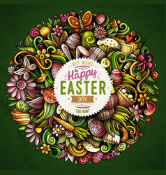 happy easter hand drawn doodles vector image