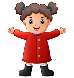 happy little girl in red winter clothes vector image