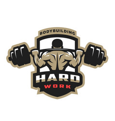 Hard work bodybuilding emblem logo vector