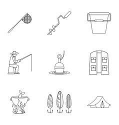 Hunting for fish icons set outline style vector