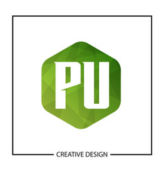 initial letter pu logo template design vector image