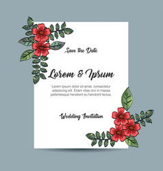 Invitation card with flowers decoration vector