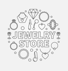 Jewelry store concept round in vector