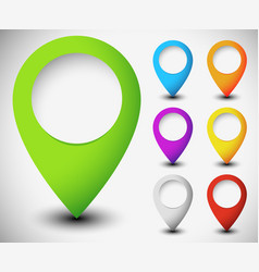 Map marker map pin set with blank circle vector