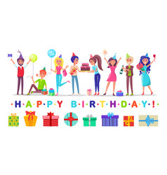 Men and women in festive hats happy birthday vector