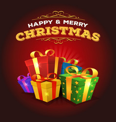 Merry christmas background with stack of gifts vector
