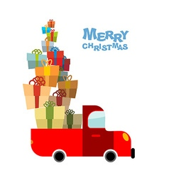 Merry Christmas Car and lots of gift box Truck vector