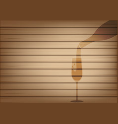 mock up realistic wood and wine bottle glass vector image